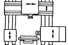 Компоновка двухстоечного вертикального и горизонтального координатно-расточного станка