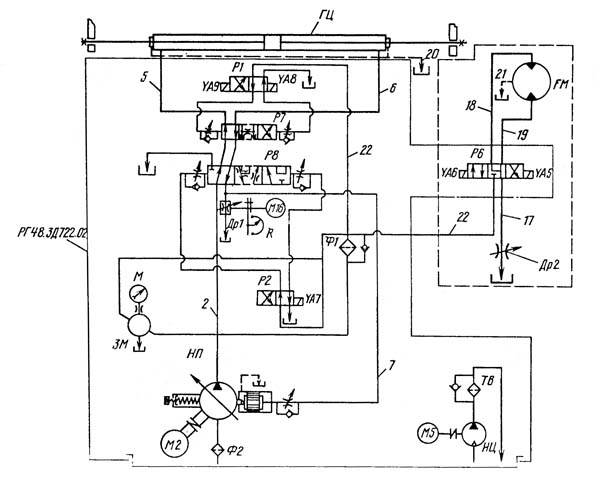 Гидравлическая схема 3Л722В