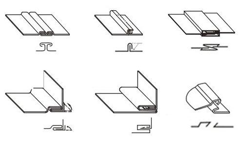Схемы изображения фальцев на чертежах