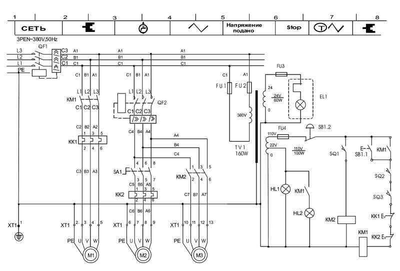 Электрическая схема станка 1В62г