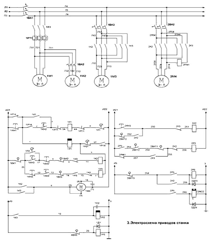 Электросхема приводов станка 1516