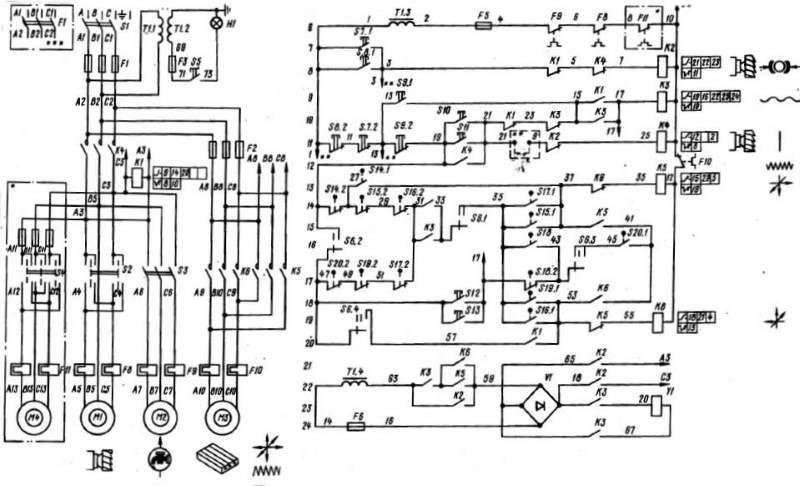 Электрическая схема станка 6Р13
