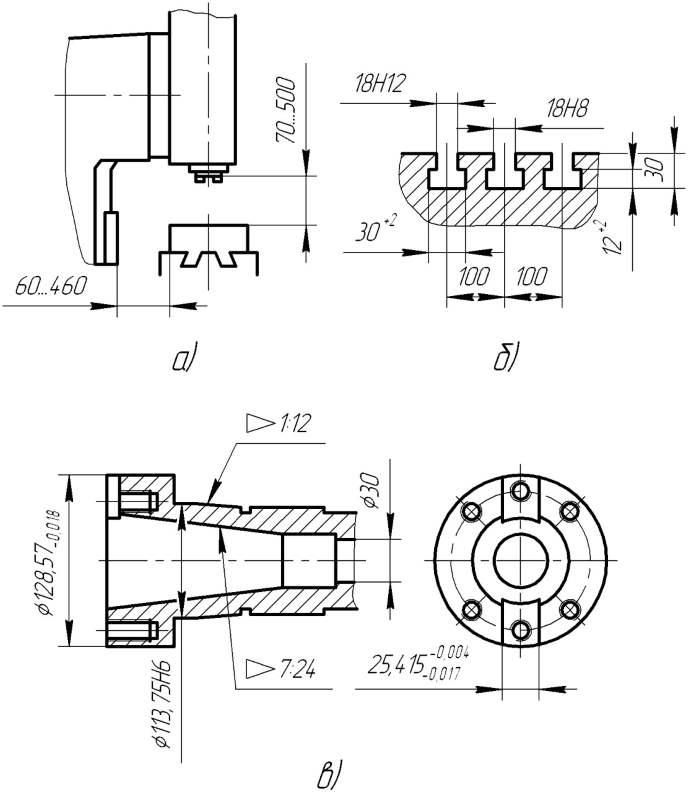 Рабочее пространство (а), присоединительные размеры стола (б) и шпинделя (в)