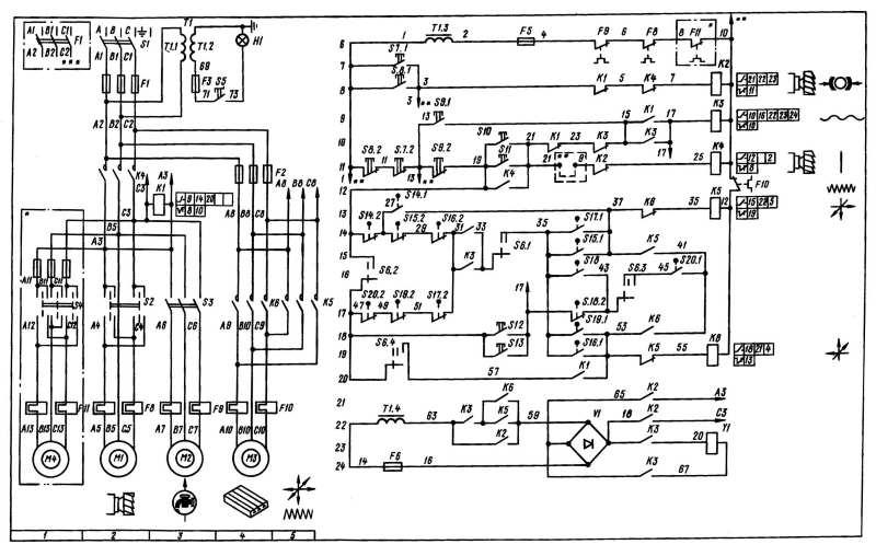 Электрическая схема станка 6Р82