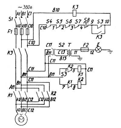 Электрическая схема токарного станка ТВ-7