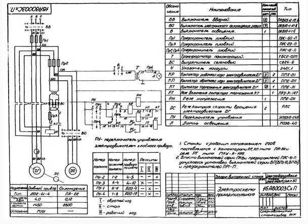 Электрическая схема станка 1А616