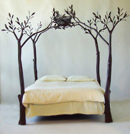 Кровать с кованым балдахином Птичье гнездо