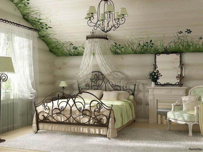 Кровать кованая в стиле лофт будет изящным украшением светлой спальни