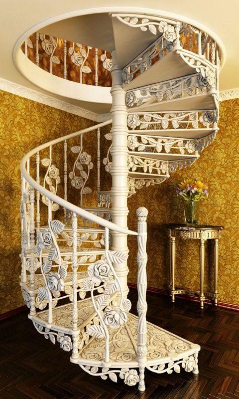 Белые кованые лестницы в современном интерьере