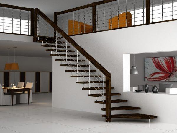 Кованая лестница на одной балке в современном интерьере