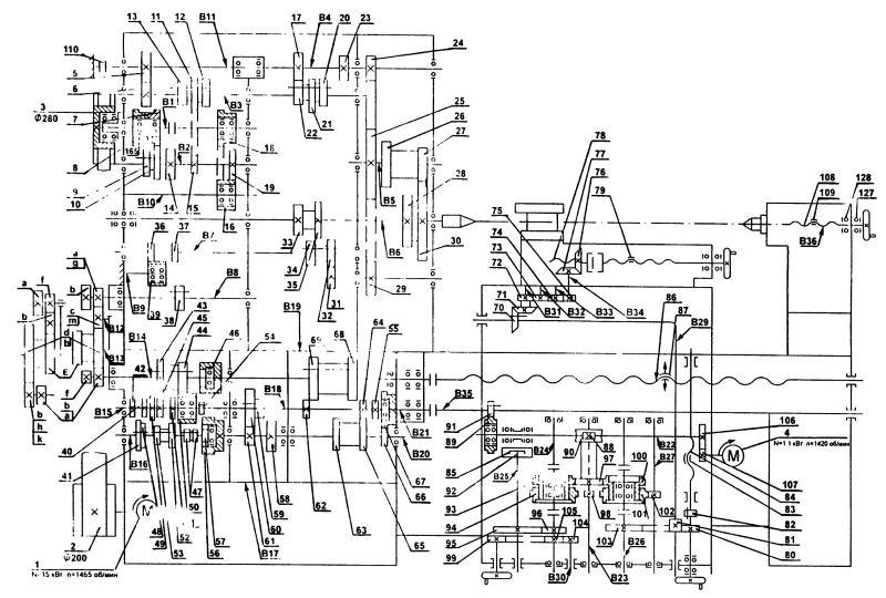 Кинематическая схема токарно-винторезного станка 1М63Н