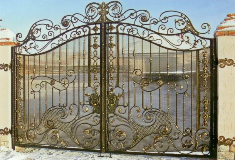 Прозрачные ворота с кованой оправой