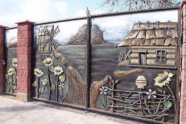 Элитные кованые ворота с сельским пейзажем