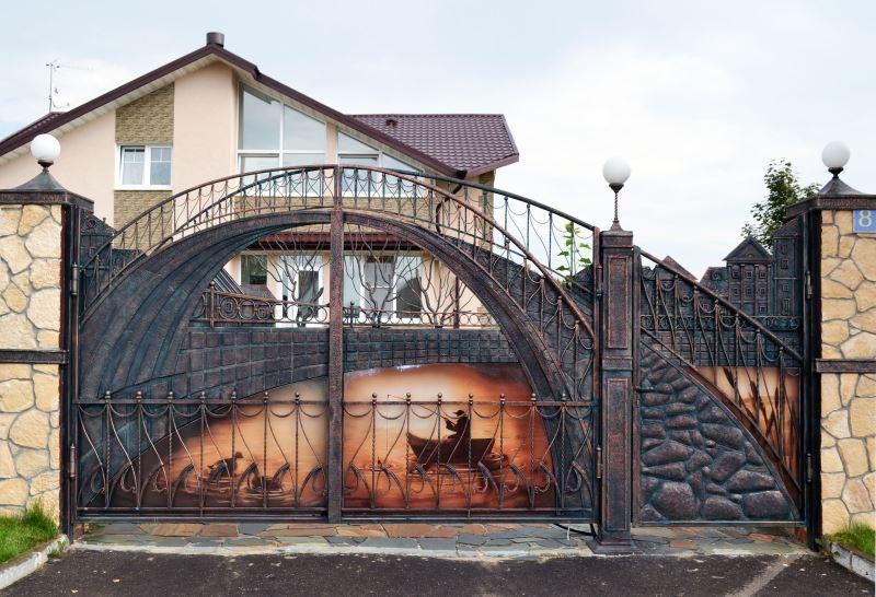 Художественные ворота с объемным рисунком