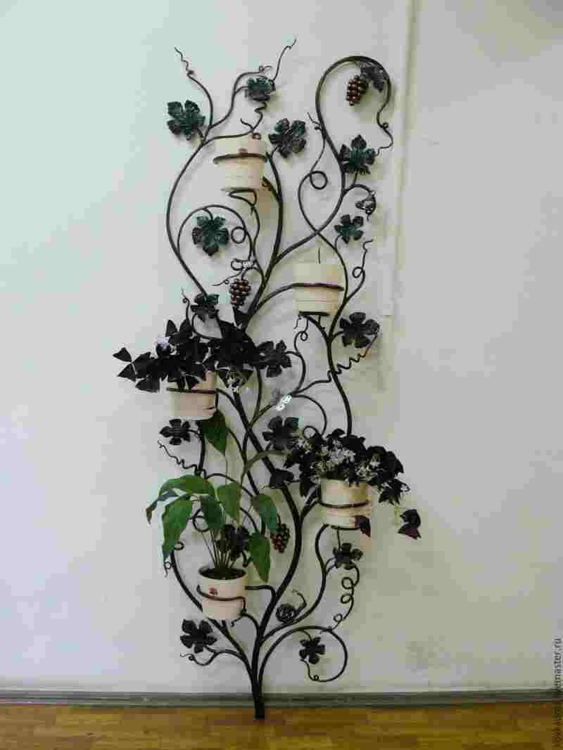 Кованые крепежи на стену для цветов