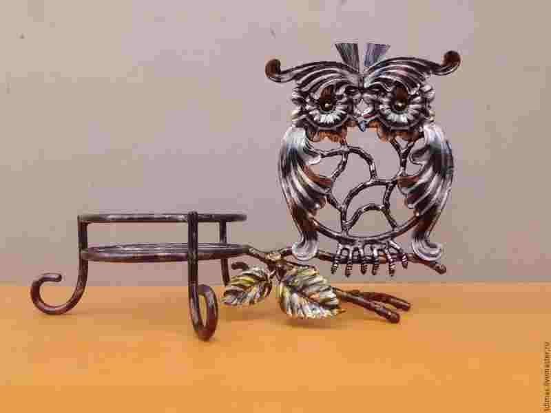 """Кованая подставка для цветов из серии животные """"Мудрая сова"""""""