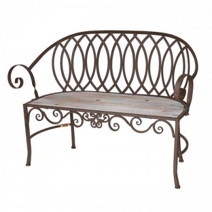 Кованая скамейка стилизованная орнаментом прованс