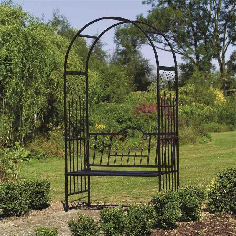 Садовая кованая арка со скамейкой
