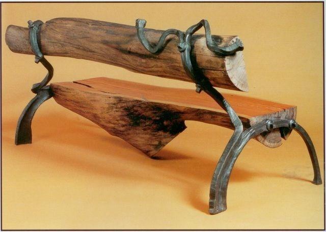 Скамейка кованое дерево