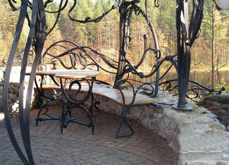 Скамейка со столом под навесом кованое дерево