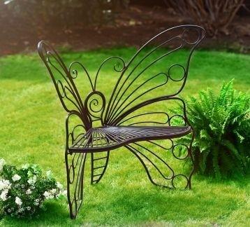 Угловая кованая скамейка бабочка