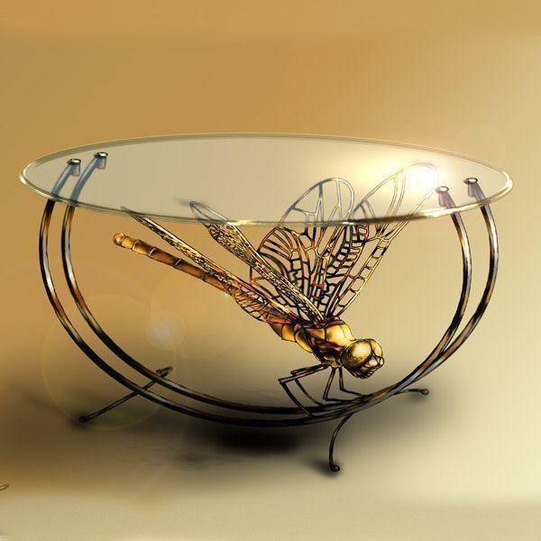 Кованый стол стрекоза