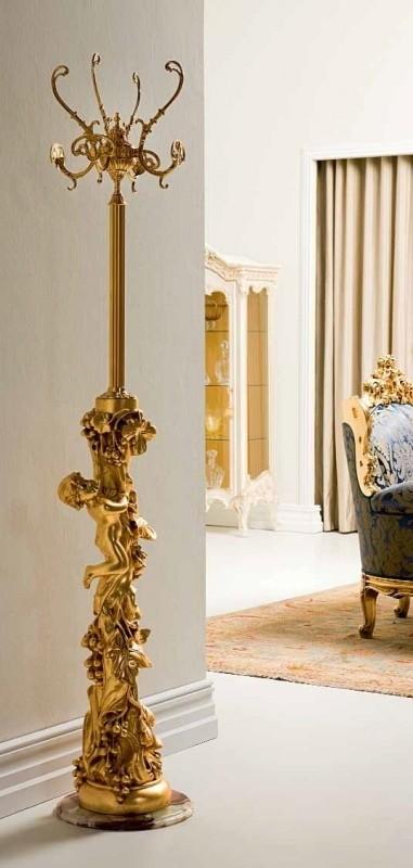 Вешалка напольная кованая для одежды золото
