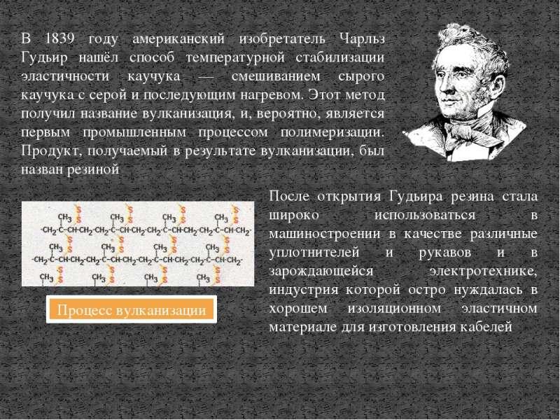 Чарльз Гудьир изобрел процесс вулканизации каучука