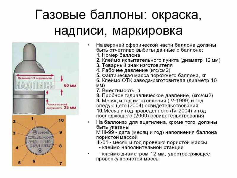 Конструкция, объем и маркировка газовых сосудов