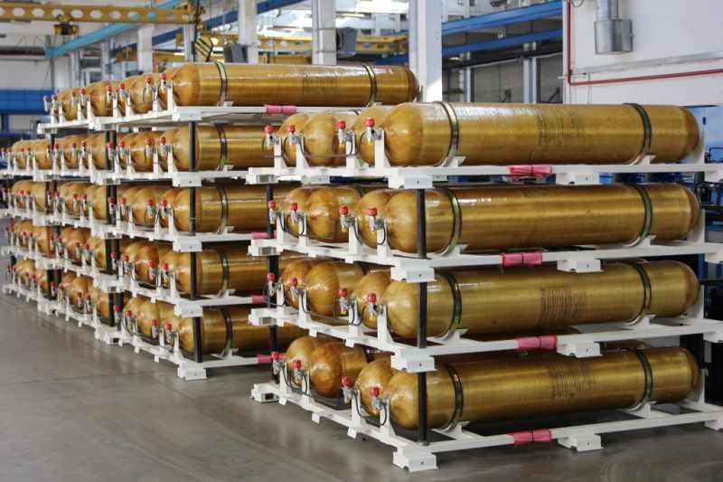 Горизонтальное хранение газовых баллонов