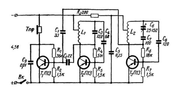 Простая схема на тронзисторных генераторах