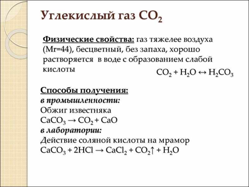 Физические свойства углекислого газа
