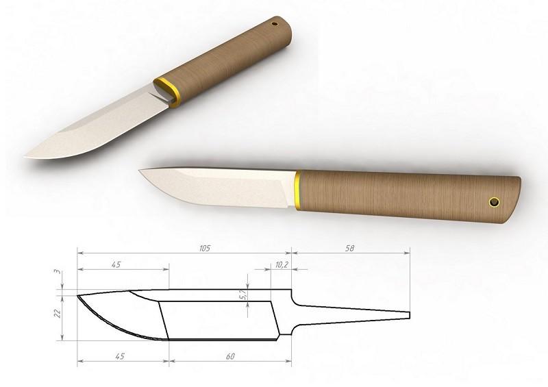 Нож из напильника и чертеж к нему