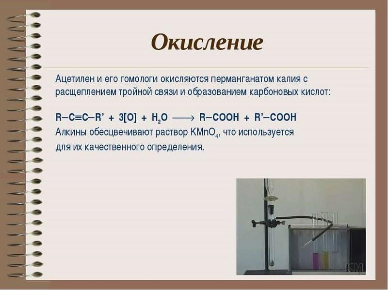 Реакция окисления ацетилена