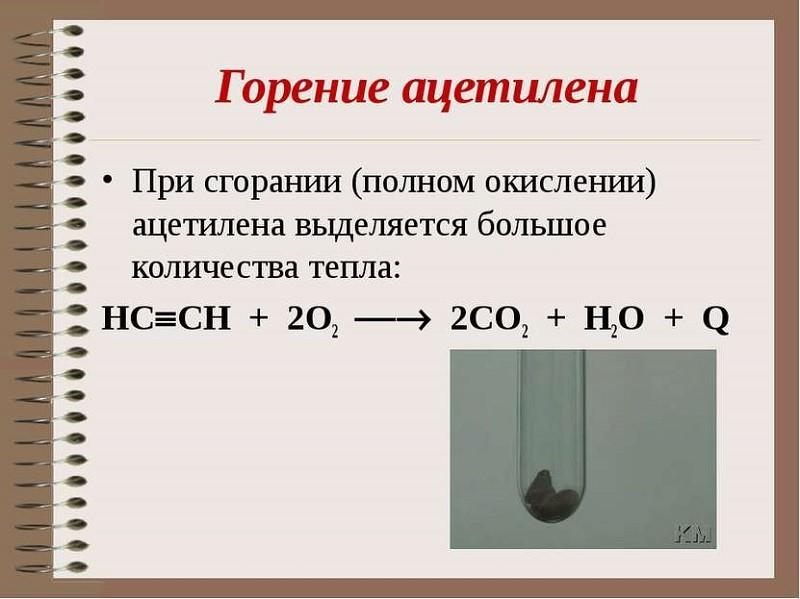 Реакция горения ацетилена