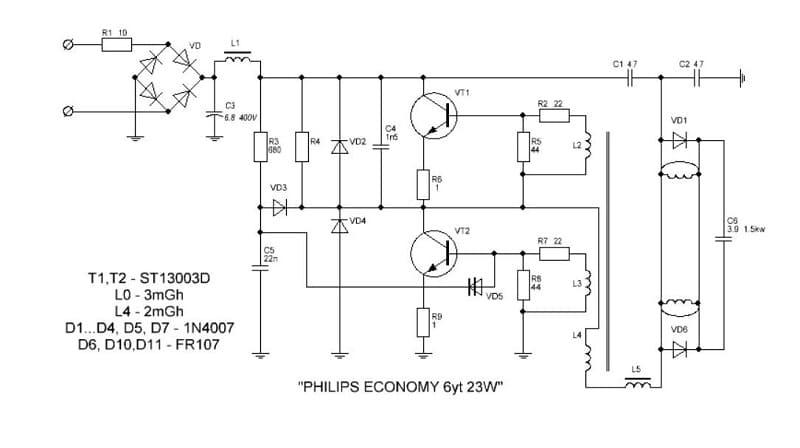 Схема энергосберегающей лампочки на