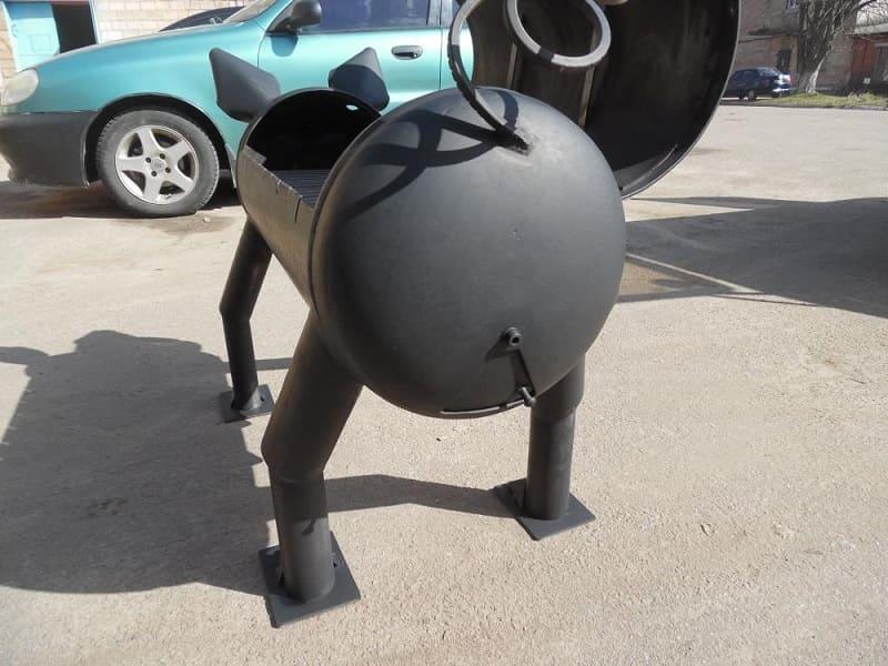 Мангал из газового баллона в виде кабана