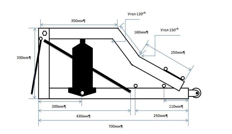 Схема для сборки подкатного домкрата своими руками