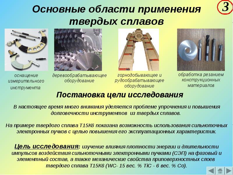 Области применения твердых сплавов