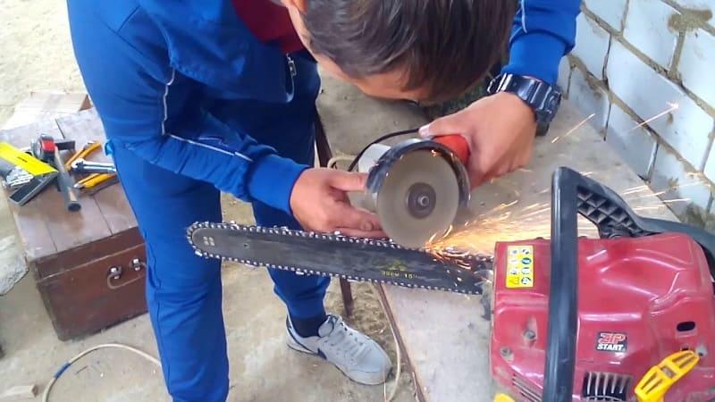 Заточка цепи бензопилы болгаркой