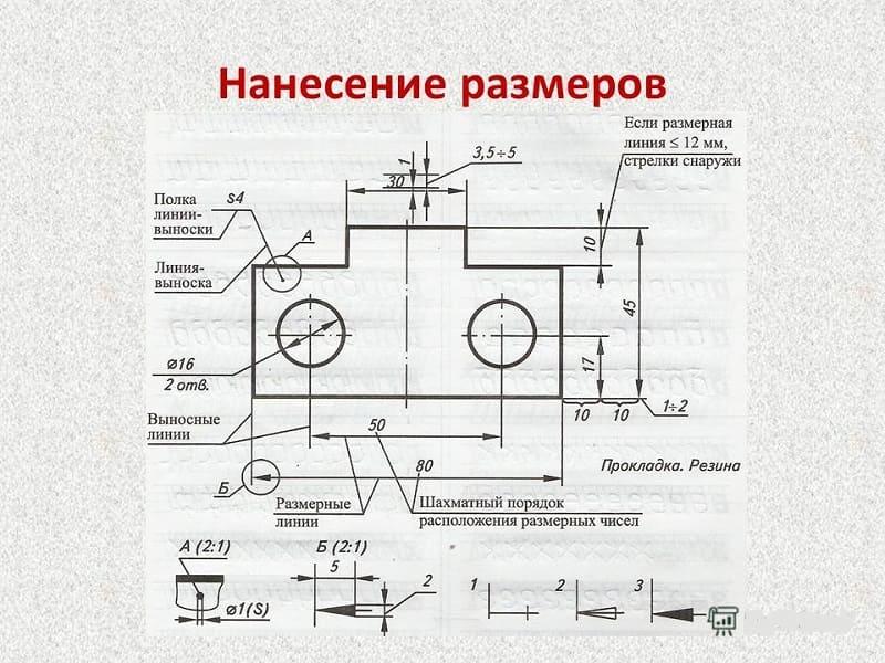 Схема нанесения размеров