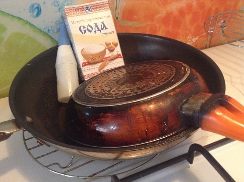 Использование пищевой соды для очистки алюминиевой посуды