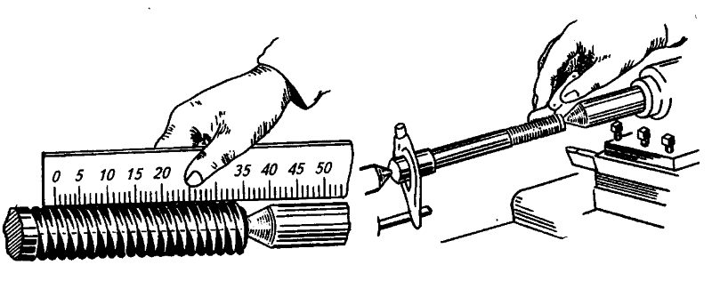 Измерение шага резьбы линейкой и резьбомером