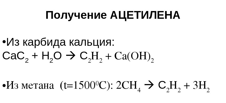 Получение ацетилена из карбида кальция