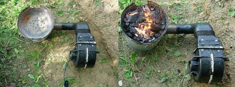 Использование пылесоса для наддува горна