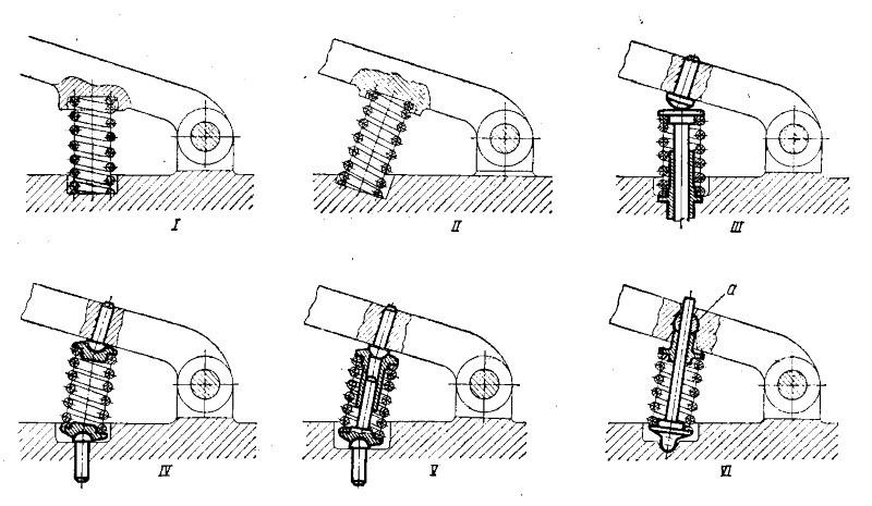 Способы установки пружин сжатия на качающемся рычаге
