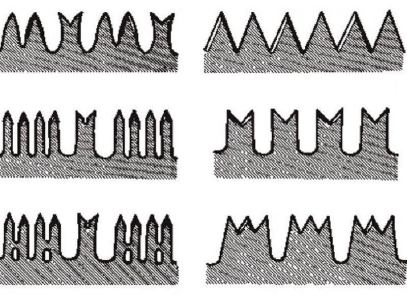 Разнообразие зубьев ножовок по дереву