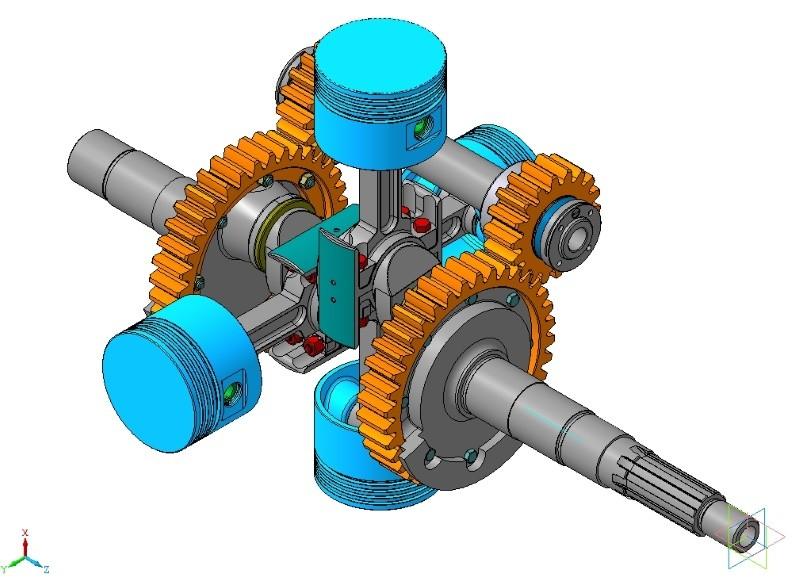 3D модель бесшатунного механизма ДВС