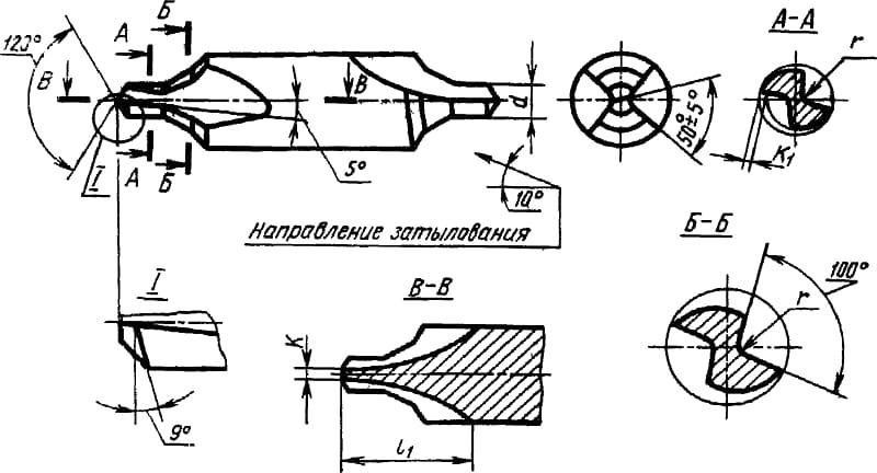 Чертеж особенностей конструкции центровочных сверл