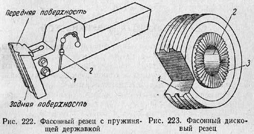 Фасонный резец с пружинящей державкой и дисковый резец